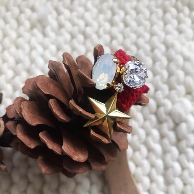 クリスマスニットリング松ぼっくり